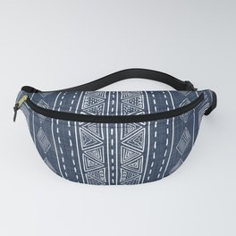 Mudcloth Navy Blue and White Vertical Tribal Pattern Fanny Pack