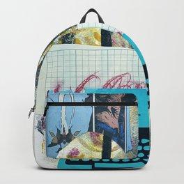 Turquoise Typewriter, mixed media print Backpack