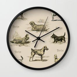 TERRIERS Dog pattern Wall Clock