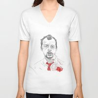 shaun of the dead V-neck T-shirts featuring Shaun of the Dead by Andy Christofi