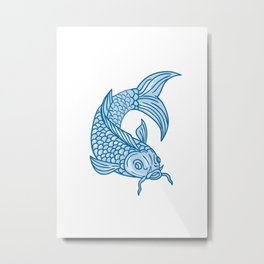 Koi Nishikigoi Carp Fish Diving Down Drawing Metal Print