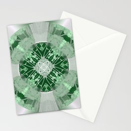 Microchip Mandala in Green Stationery Cards
