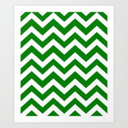 Green (HTML/CSS color) - green color - Zigzag Chevron Pattern Art Print