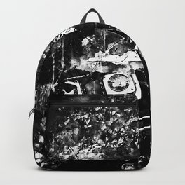 lost place rusty american car wreck splatter watercolor black white Backpack