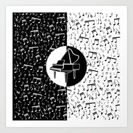 Contemporary piano and musical notes Art Print