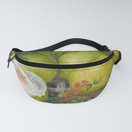 Pomelo, Henna Branch, Pear and Flying lizard still life painting Fanny Pack