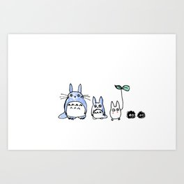 Totoro and Friends Drawing Art Print