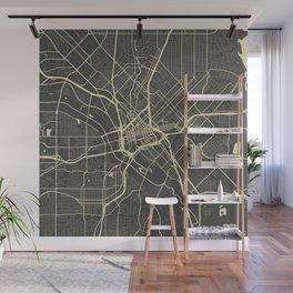 Dallas map yellow Wall Mural