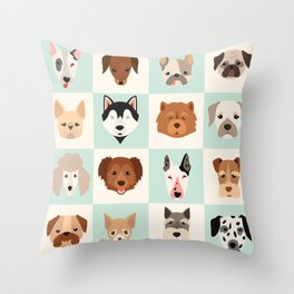 Big set of cute dogs icons, vector flat illustrations. Popular dogs breeds, pattern, card, game grap Throw Pillow