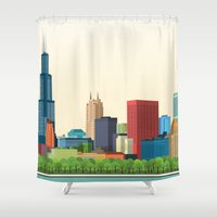 chicago Shower Curtains featuring Chicago by GoFe