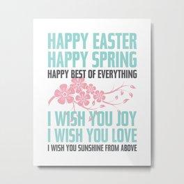 Happy Easter, Happy Spring | Poem Artwork | Robin's Egg Blue, Grey, Pink Metal Print