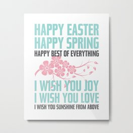 Happy Easter, Happy Spring | Poem Artwork | Robin's Egg Blue, Grey, Pink Metal Print
