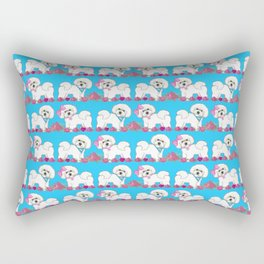 Bichon Frise Floral Rectangular Pillow