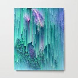 Emerald City - Glitched Pixel Abstract Art Metal Print