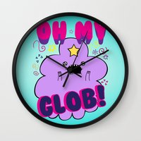 lumpy space princess Wall Clocks featuring Lumpy Space Princess by WaXaVeJu