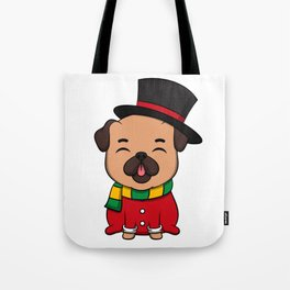 Cute Pug Dog Doggy Hound Winter Time Gift Idea Tote Bag