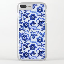 Azulejos blue floral pattern Clear iPhone Case