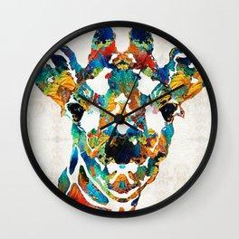 Colorful Giraffe Art - Curious - By Sharon Cummings Wall Clock