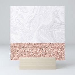 White Marble Dipped in Rose Gold Glitter Mini Art Print