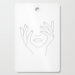 Minimal Line Art Woman with Hands on Face Cutting Board