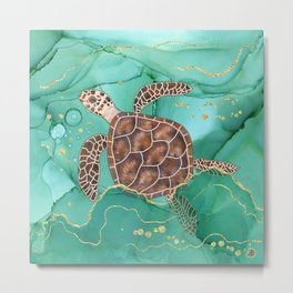 Precious Hawksbill Sea Turtle Swimming in the Emerald Ocean Metal Print