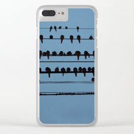 birds on a wire feeling blue Clear iPhone Case