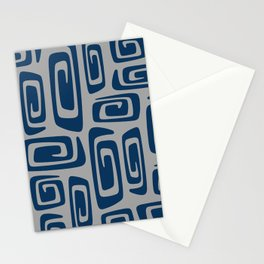 Mid Century Modern Cosmic Abstract 514 Blue and Gray Stationery Cards