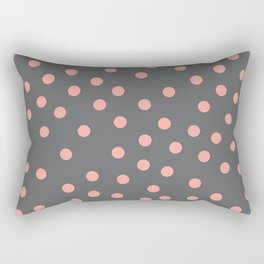 Simply Dots Salmon Pink on Storm Gray Rectangular Pillow