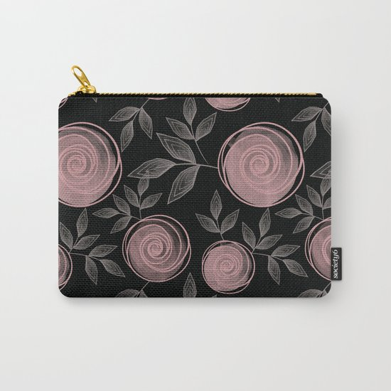 Abstract flowers on a black background. Carry-All Pouch