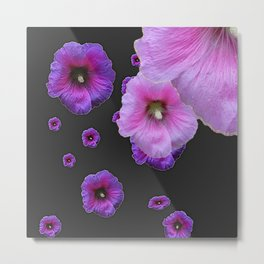 ASYMMETRICAL  PINK-PURPLE  HOLLYHOCKS ON DARK CHARCOAL GREY ART Metal Print