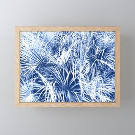 Palm Fronds Blue and White Duo Tone Abstract Framed Mini Art Print