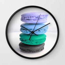 macarons / macaroons Blue Lavender Teal Slate Wall Clock