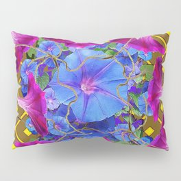 Nut Brown  Pink-Purple-Blue Morning Glory Abstract Pillow Sham