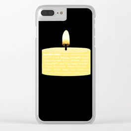 Happy Holidays Candle Clear iPhone Case