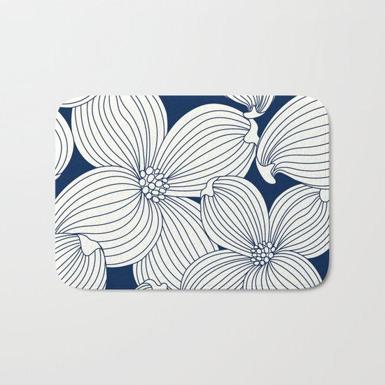 Dogwood Big Linear Floral: Navy Ivory Bath Mat