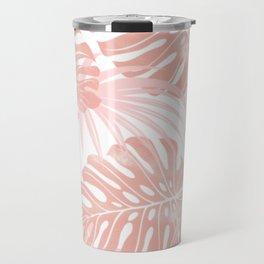Blush Tropical Leaves Travel Mug