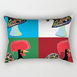 Portuguese Rooster Cluster Rectangular Pillow