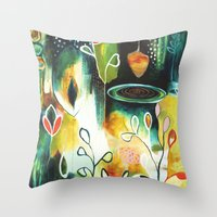 "flora bowley Throw Pillows featuring ""Deep Growth"" Original Painting by Flora Bowley by Flora Bowley"