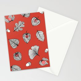 Red Physalis and skeleton leaves Stationery Cards