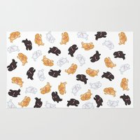 bunnies Area & Throw Rugs featuring Bunnies! by Kashidoodles Creations