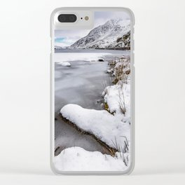Snowfall at Ogwen Lake Snowdonia Clear iPhone Case