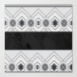 Modern Black and White Marble Geo Pattern Canvas Print