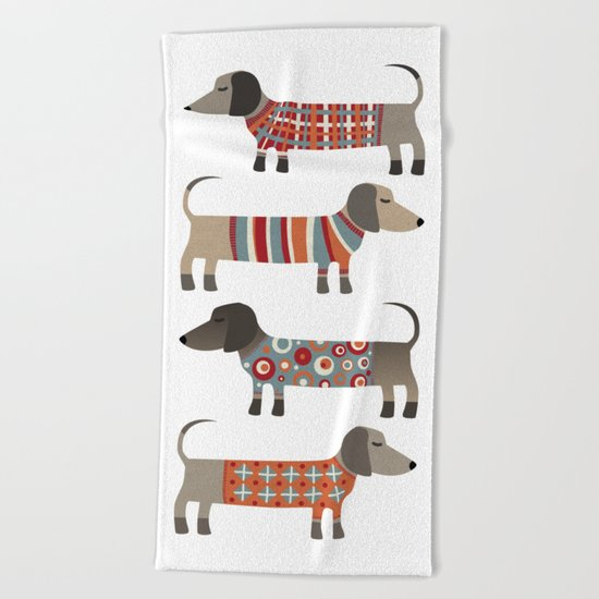 Sausage Dogs in Sweaters Beach Towel
