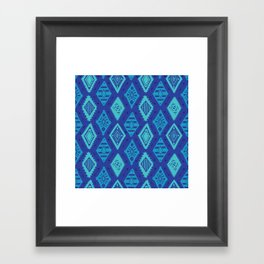 Blue Tribal Print Framed Art Print