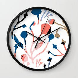 Mauve pink black blue abstract floral illustration Wall Clock