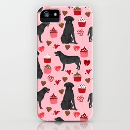 Black Lab valentines day pattern gifts dog pattern with hearts and cupcakes perfect for valentine iPhone Case