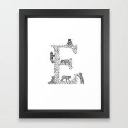 Bearfabet Letter E Framed Art Print