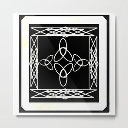 Celtic Deco Black and White Metal Print