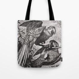 Vintage Love Parrots Tote Bag