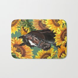 Horse with Sunflowers Bath Mat